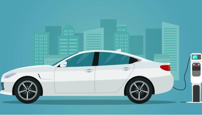 electric-sedan-isolated-electric-car-is-charging-side-view-vector-vector-id1165325139