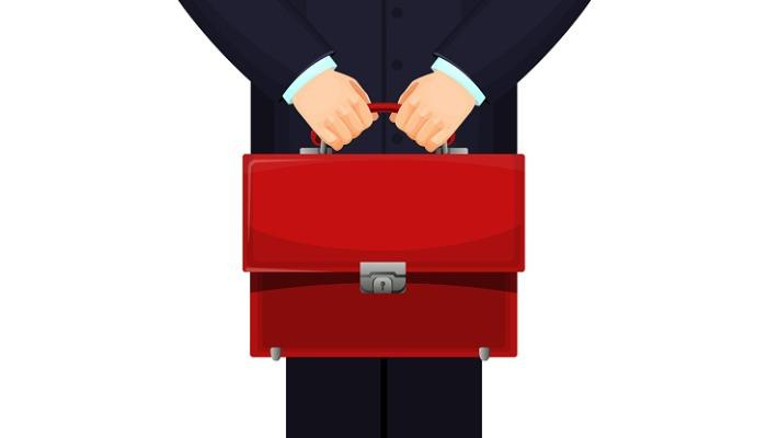 man-holding-red-budget-briefcase-on-vector-illustration-vector-id857345100