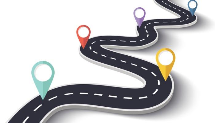 winding-road-on-a-white-isolated-background-with-pin-pointers-vector-id691423398