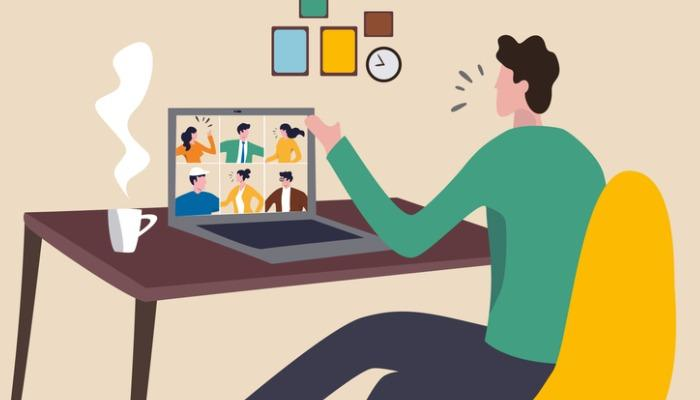 work-from-home-video-conference-meeting-with-team-in-social-covid19-vector-id1217591630